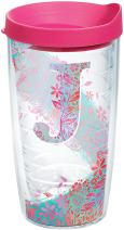 Tervis INITIAL-J Botanical Insulated Tumbler with Wrap and Fuschia Lid, 16oz, Clear