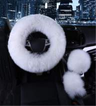 """Yontree Steering Wheel Cover with Handbrake Cover Gear Shift Cover Winter Warm Faux Wool 14.96""""x 14.96"""" 1 Set 3 Pcs White"""