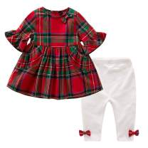Newborn Baby Girl Christmas Outfit 2PCS Red & Green Tartan Plaid Tunic Dress + Leggings Clothes Set