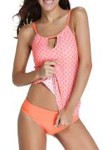 FIYOTE Womens Banded Printed Tankini Top with Triangle Briefs Swimsuit