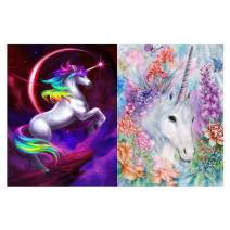 Diamond Painting Kits for Adults Kids,2 Pack 5D DIY Unicorn Diamond Art Accessories with Round Full Drill Dotz for Home Wall Decor - 11.8×15.7Inches