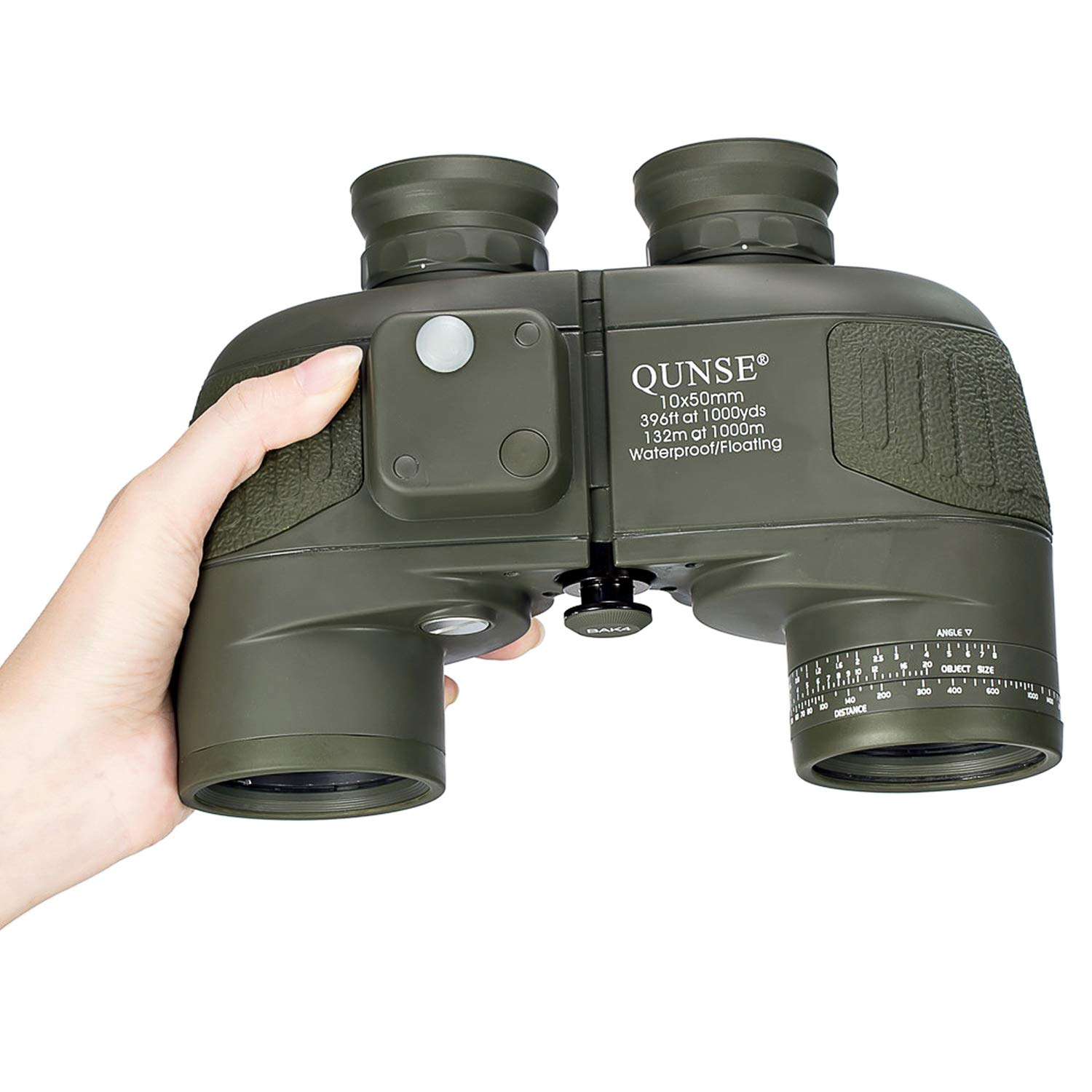 QUNSE 10x50 HD Binoculars with Compass and Rangefinder Large Object FMC Lens Clear View BAK4, with Shoulder Harness Strap and Binoculars Bag (Dark Green)