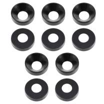 """uxcell 10Pcs 0.47"""" x 0.2"""" x 0.13"""" Aluminum Alloy Countersunk Washer for Screw Bolt Black"""