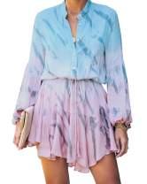 Clarisbelle Women's Long Sleeve Button up Tie Waist Floral Chiffon Dress