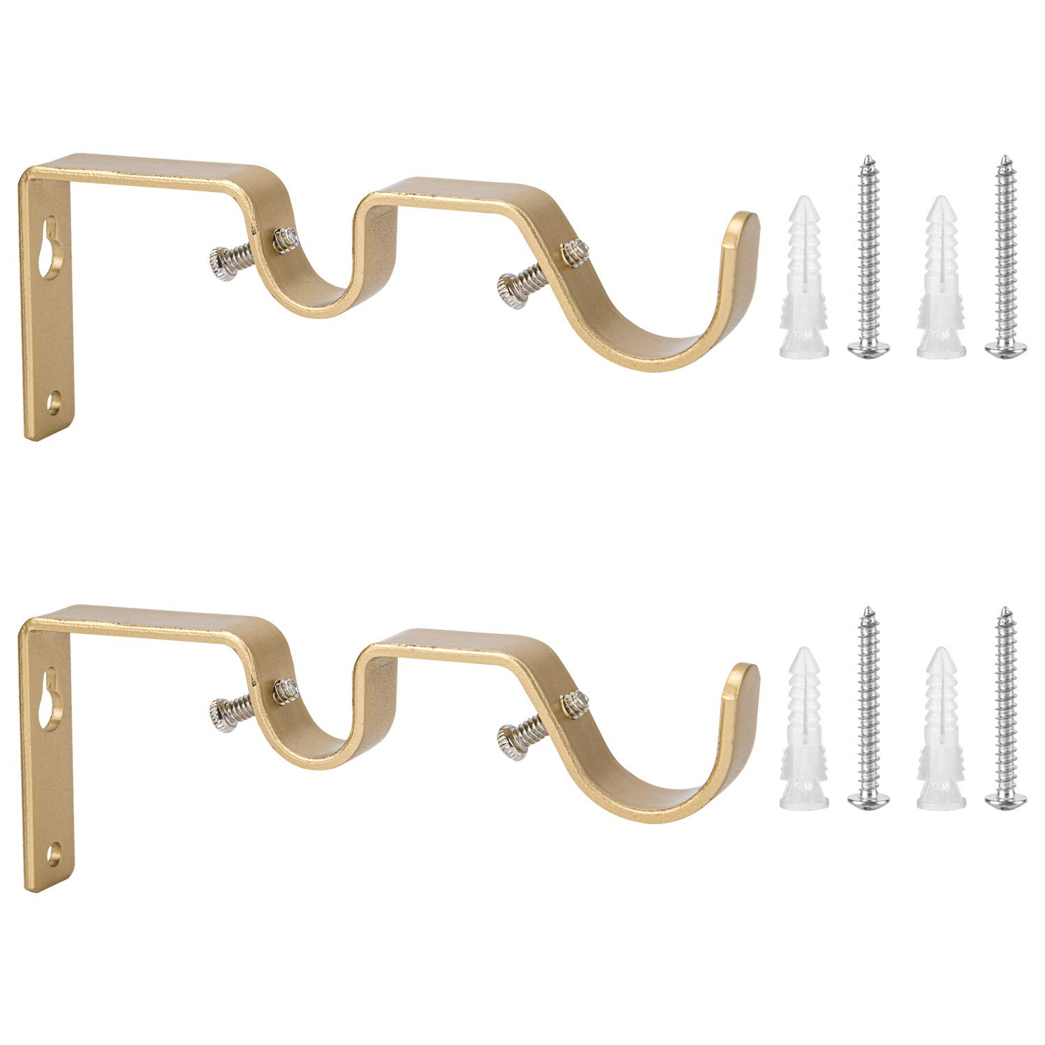 Ycolnaefllr Set of 2 Golden Double Rod Holders Double Curtain Rod Brackets Double Curtain Rod Hanging Brackets for 1 and 0.7 -Inch Rod