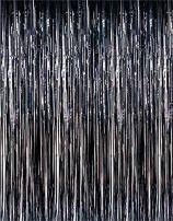 Super Z Outlet Metallic Tinsel Foil Fringe Party Curtain, 3.2 ft x 9.8 ft (Black)