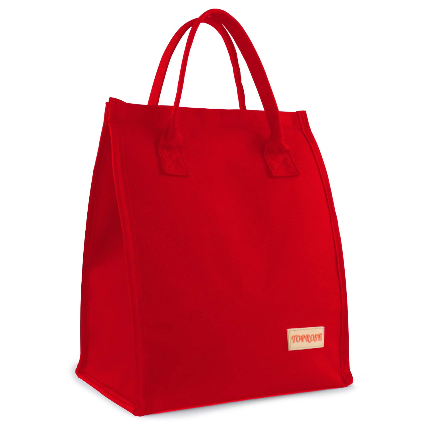 Lunch Bags for Women Men Insulated Lunch Tote Cooler Bag Roomy Reusable Lunch Boxes for School Office Outdoors Meal Prep Bag Lunch Organizer Lunch Holder Hook & Loop Lunch Cooler Bag (Red)