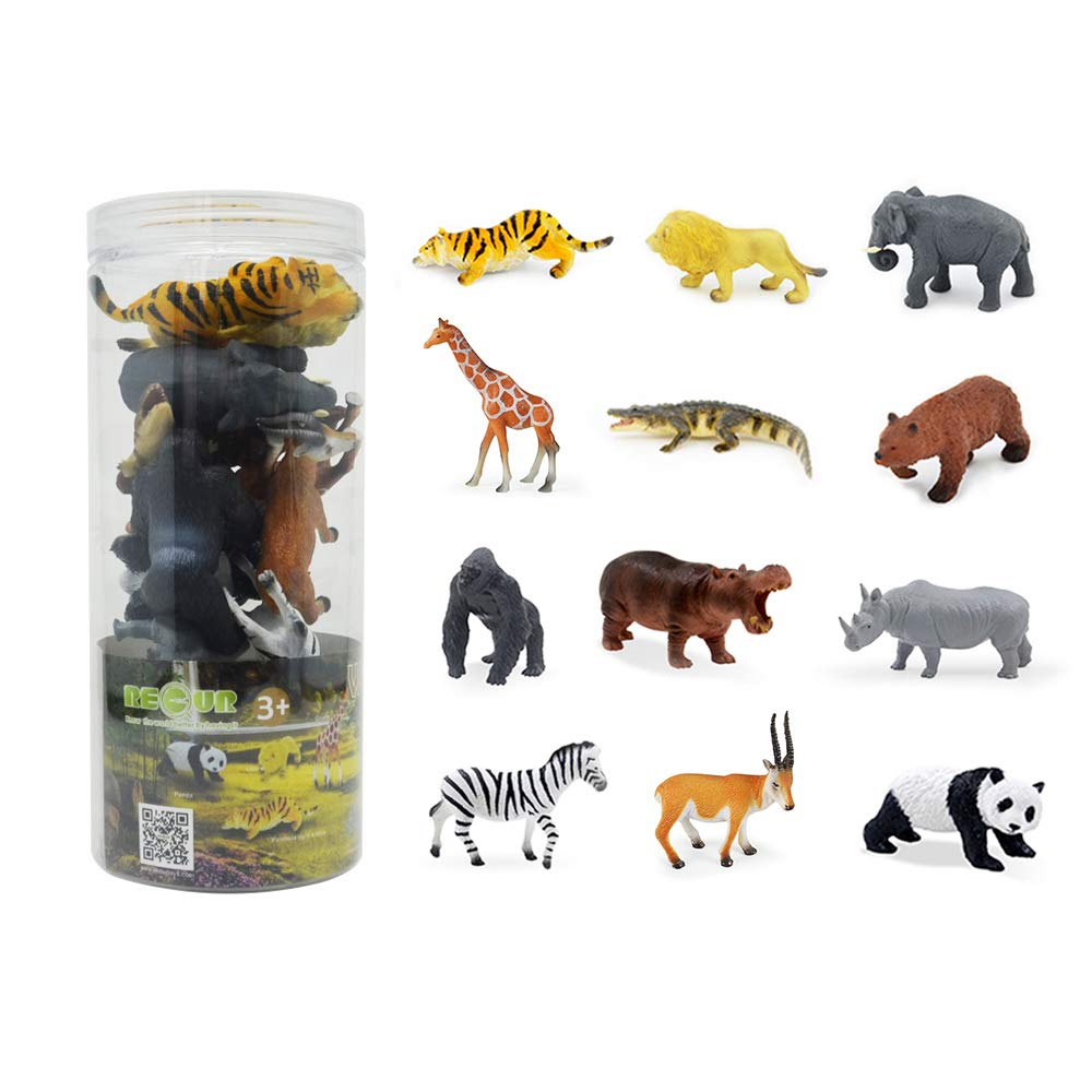 """RECUR Mini Wild Animals for Kids Toddler 3"""" Educational Realistic Jungle Animal Figure for Learning Forest Farm Animals Toys Animals Models Toys Kit for Toddlers (12 Pack)"""