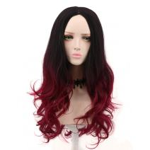 Yuehong Beauty Women's Gradient Black Red Ombre Wig Wavy Synthetic Costume Wigs
