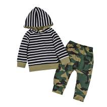 Baby Boy Camo Clothes 2PCS Striped Hoodie and Camouflage Pants Winter Outfits Set