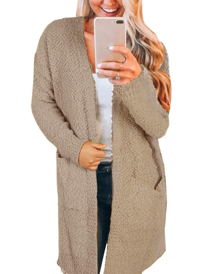 Inorin Womens Long Oversized Open Front Cardigan Sweater Fall Fuzzy Wrap Coat Sherpa Jacket with Pockets