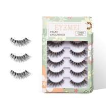 5 pairs 3D False Eyelashes Reusable Handmade Cross Thick Natural Fake Eye Lashes Professional for Women's Makeup by EYEMEI