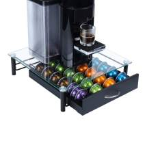 GEESTA Solid Iron Drawer and Tempered Glass Top Large-Capacity Nespresso Coffee Capsule Storage Drawer Holder, Fits Up to 44 Nespresso Pods