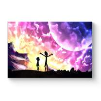 """HAOSHUNDA HSD Wall Art Rick and Morty Posters On Canvas Oil Painting Posters and Prints Decorations Wall Art Picture Living Room Wall Ready to Hang 12"""" x 18"""" 16"""" x 24"""" (12""""x18""""x1, Artwork-10)"""
