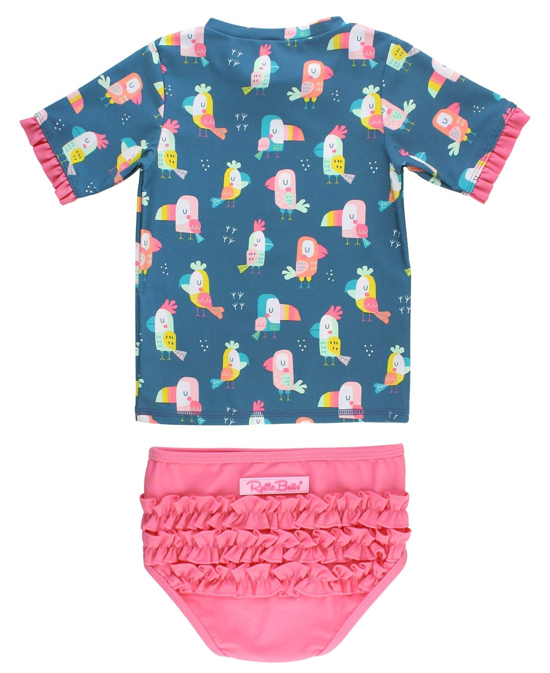 RuffleButts Girls UPF 50+ 2-Piece Short Sleeve Rash Guard Bikini w/Ruffles