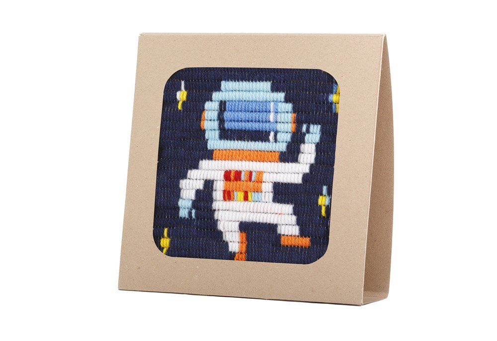 """Sozo - Colorful DIY Needlepoint Embroidery Craft Kit for Beginners. Eco Friendly Package That Turns into a Display Frame, Easier Than Cross Stitch. Size - 8"""" x 8"""" (Astronaut)"""