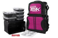 Meal Prep Backpack RUGGED ISOPACK 4 Meal Insulated Lunch Pack Cooler with 8 Stackable Meal Prep Containers, 1 ISOBRICK - MADE IN USA (Black/Fuchsia)