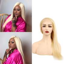 Blonde 613 Human Hair Lace Front Wigs Straight Wave 613 13X4 Lace Frontal Wigs With Baby Hair Around Free Part 150 Density Pre Plucked Hairline Brazilian Virgin Blonde Wigs For Black Women 14 Inch