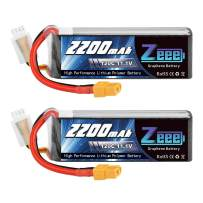 Zeee 3S 120C 2200mAh 11.1V Lipo Battery with XT60 Plug RC Graphene Lipo for FPV Drone Quadcopter Helicopter Airplane RC Boat RC Car RC Models(2 Pack)