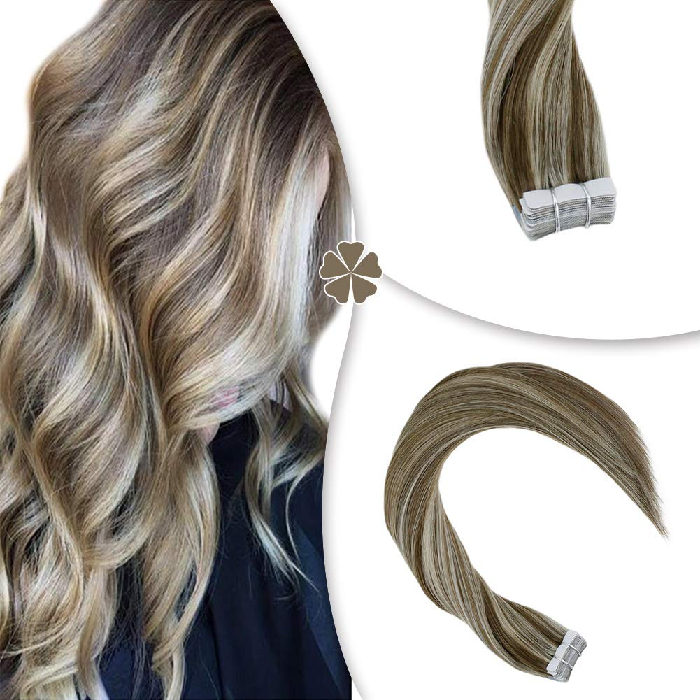 Hetto 18 Inch Medium Length Real Human Hair Tape in Remy Hair Extensions for Woman 40Pcs 100G Seamless Skin Weft Extensions Glue in Hair #10 Golden Brown and #613 Blonde