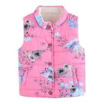 LittleSpring Girls Lightweight Floral Vest Fleece Lined for 3-7 Years Old