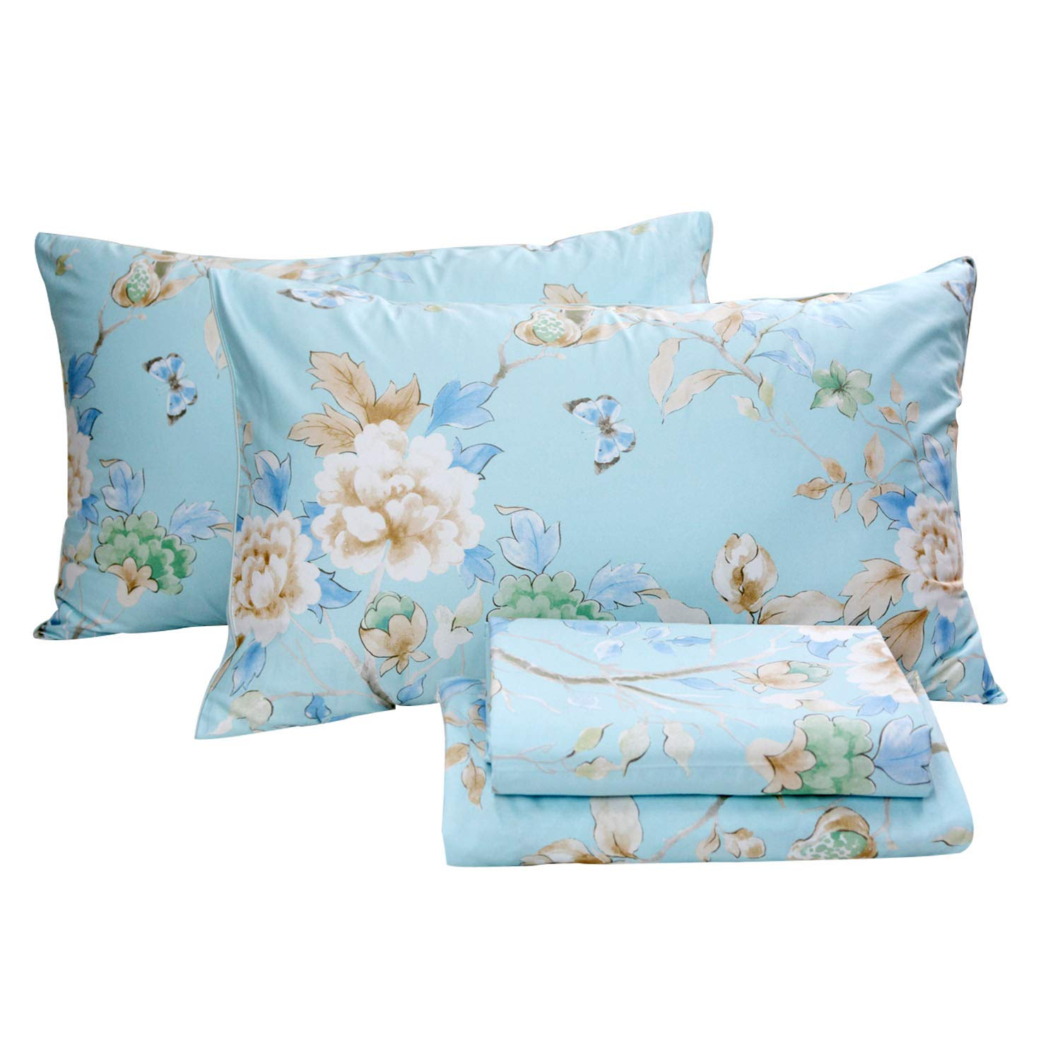 FADFAY Floral Bedding Shabby Blue Bird Print Bed Sheet Set Luxury Bedding Collections 800 Thread Count 100% Egyptian Cotton Deep Pocket, 4 Piece-Queen Size