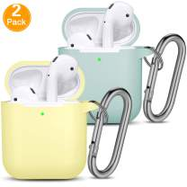Vcegari Case Compatible with AirPods 2 AirPods 1 [Front LED Visible], 2 Pack Durable Anti-Dust Shock-Proof Silicone Protective Cover Skin for AirPods Charging Case with Keychain, Milk Yellow/Turquoise