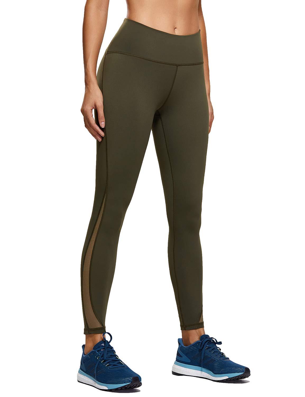 CRZ YOGA Naked Feeling High Waist 7/8 Leggings Mesh Yoga Tight Workout Leggings with Zip Pocket-25 Inches