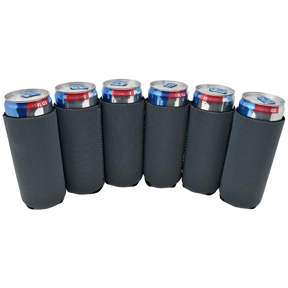 TahoeBay 6 Slim Can Sleeves - Blank Neoprene Beer Coolers – Compatible with 12oz RedBull, Michelob Ultra, White Claw Spiked Seltzer (Charcoal, 6)