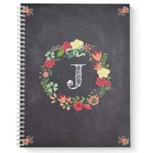 "Floral Wreath Monogram""J"" Notebook/Journal, Laminated Soft Cover, 120 Checklist pages, lay flat wire-o spiral. Size: 8.5"" x 11"". Made in the USA"