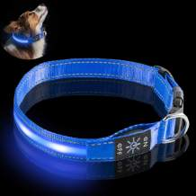 Fenley Led Dog Collar Rechargeable- Upgraded Durable 3 Mode Light Up Dog Collars for Large Medium Small Dogs- Soft Reflective Dog Collar Adjustable with Safety Buckle- Blue M