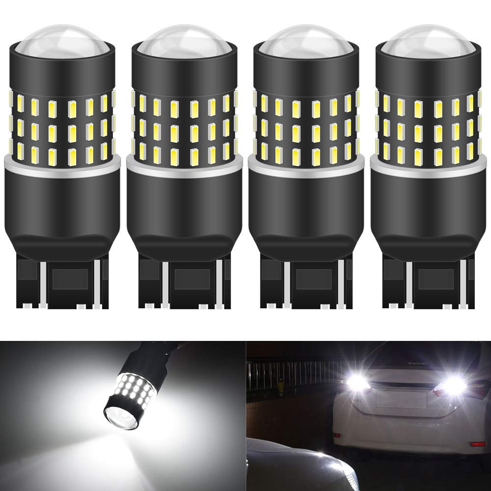 KATUR 7440 7443 7444NA 7441 992 Led Light Bulb High Power 3014 54 Chipsets Super Bright 650 Lumens Replace for Turn Signal Back Up Reverse Brake Tail Stop Parking RV Lights,Xenon White(Pack of 4)