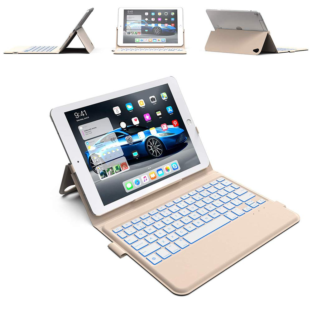 iPad Keyboard Case 9.7 - Thin & Light - Backlit 7 Color - Infinite Hinge - Auto Sleep/Wake - iPad 6th Generation Case with Keyboard - A1893 - A1954 (Rose Gold)