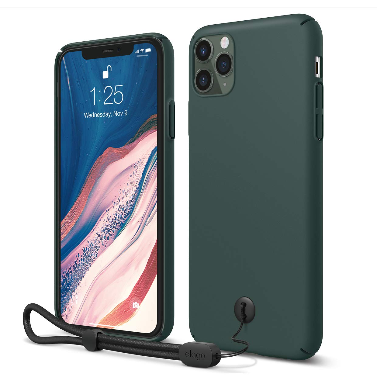 """elago iPhone 11 Pro Max Slim Fit Strap Case 6.5""""  Midnight Green  - Slim, Light, Simple Design, Matte Coating, Anti-Slip, Raised Lip, Attachable Strap and Button, Fit Tested [Made in Korea]"""
