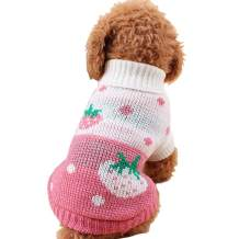 CHBORCHICEN Pet Dog Sweaters Classic Knitwear Turtleneck Winter Warm Puppy Clothing Cute Strawberry and Heart Doggie Sweater (Pink, Small)