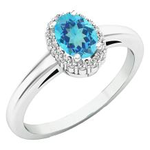 Dazzlingrock Collection 14K 6X4 MM Oval Gemstone & Round White Diamond Ladies Bridal Halo Engagement Ring, White Gold