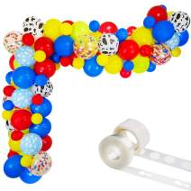 """Toy Inspired Story Balloon Arch & Garland Kit, 85 Pack 12"""" 5"""" Cloud Cow Print Balloons Red Yellow Blue Fruit Green Latex Balloons Confetti Balloon Set for Baby Shower Kids Birthday Party Decorations"""
