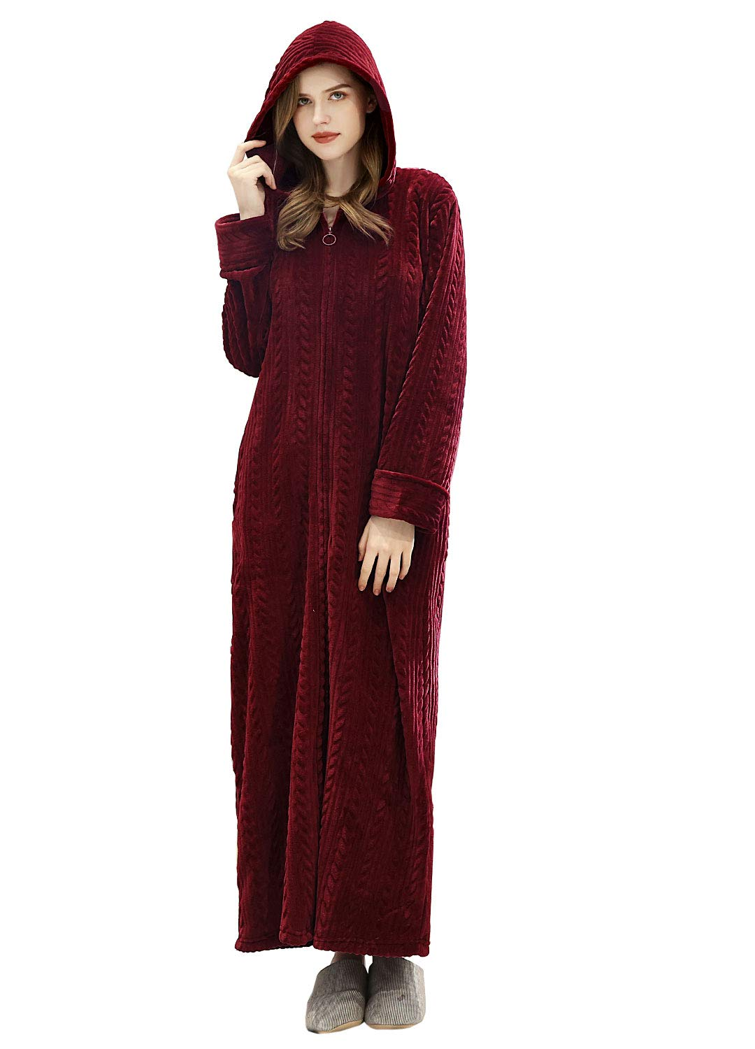 Women Robe Hooded Zipper Front Soft Warm Long Bathrobe Sleepwear Winter Robes