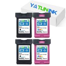 YATUNINK Remanufactured Ink Cartridge Replacment For HP 64XL Black 64XL Tri-color Ink Cartridge For HP Envy Photo 6252 Envy 6255 Envy 6258 Envy 7155 7158 7164 7855 7858 7864 Envy 5542 Printer (4 Pack)