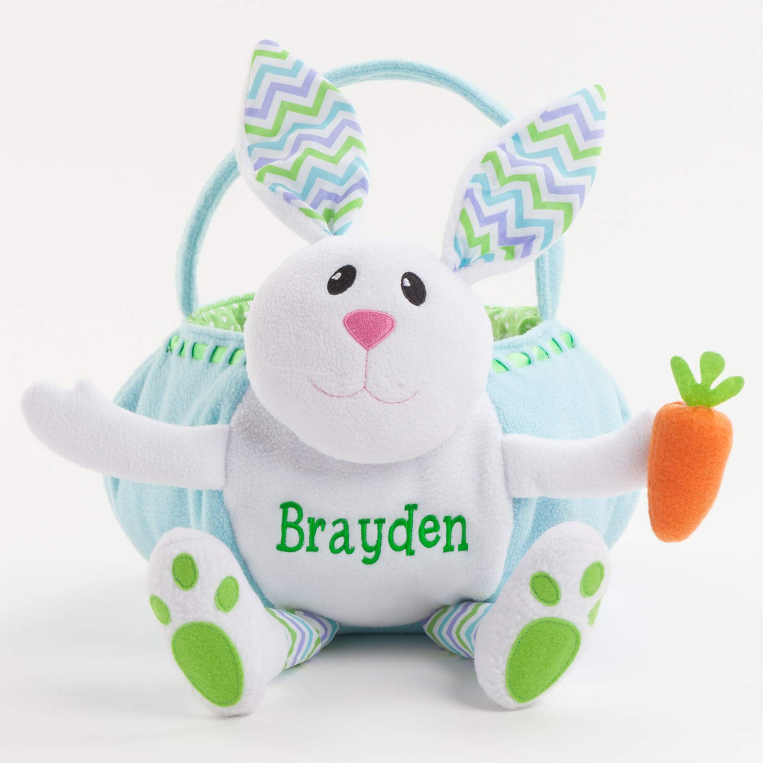 Personalized Blue Plush Easter Bunny Basket with Custom Name Embroidery on Soft White Body with Chevron Patterned Ears and Green Interior Liner, 11x12