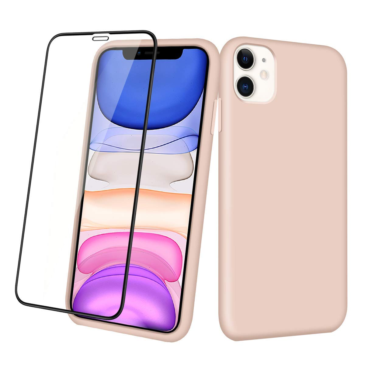 Aemotoy Case for iPhone 11 Soft Rubber Silicone Case Full Body Wrapped 2 in 1 with Tempered Glass Anti-Scratch Shock Absorption Slim Cover Case for 2019 Release 6.1 Inches iPhone 11, Sand Pink