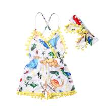 Infant Baby Girl Summer Clothes Floral Tassel Sleeveless Backless Romper Bodysuit One Piece Shorts Jumpsuit