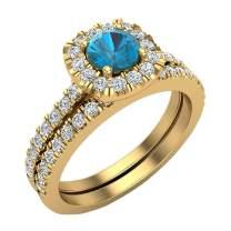 1.00 ct tw Blue & White Diamond Cushion Halo Wedding Ring Set in 14K Gold
