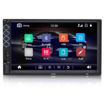 Digital MultimediaUniversal Car Stereo with Bluetooth, Hieha 7 inch Double Din Touch Screen in-Dash Car FM Radio Receiver MP5 Player, Support Rear View Camera, Steering Wheel Controls, Mirror Link
