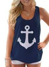 Yanekop Women Boat Anchor Print Sleeveless Bowknot Tank Tops Vest Blouse Shirts