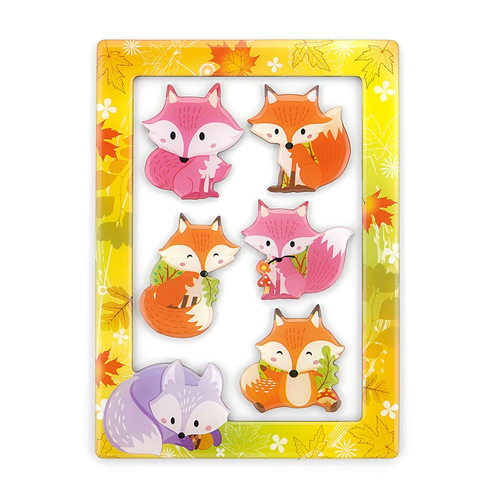 Fridge Magnets Fridge Stickers,Fox Refrigerator Magnets, Pattern Decoration Kitchen Magnets,Small Funny Magnets for Home School Classroom Whiteboard Office Coffee Shop Message Board(5pcs Fox)