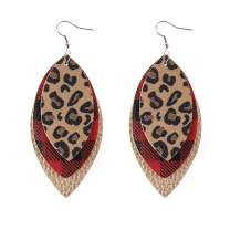 Jauxin Leather Earrings for Women Multilayer Leaf Drop Dangle Red Plaid Leopard Print Earrings Lightweight Layered Teardrop Dangling Earrings Christmas Gifts