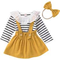 SANMIO Toddler Baby Girls Dress Suspender Skirt Set, 3pcs Ruffled Stripe T-Shirt Clothes + Strap Skirt Outfits