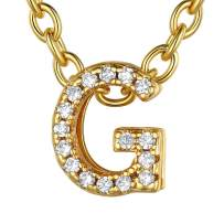ChainsHouse CZ Initial Letter Pendant Necklace Mens Womens, 18K Gold/Platinum Plated Cubic Zirconia Personalized Name Necklace Tiny Letters Charm for Girls, Alphabet 26 A to Z