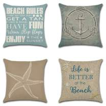 Artscope Set of 4 Decorative Throw Pillow Covers 18x18 Inches, Nautical Ocean Pattern Waterproof Cushion Covers, Perfect to Outdoor Patio Garden Living Room Sofa Farmhouse Decor